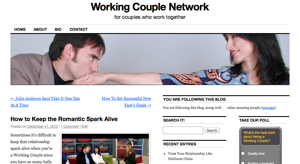 Gene & Julie started the WorkingCoupleNetwork blog to connect and promote couples who work together.