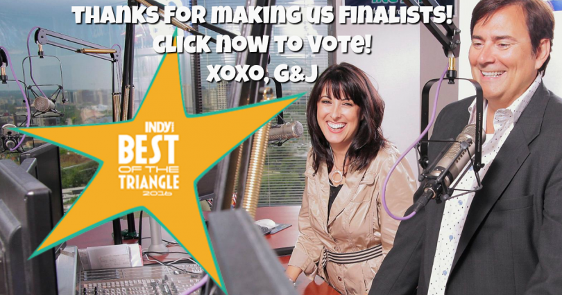 "Thanks for making us finalists in ""Best Local Radio Personality!"" Please cast your vote now! Here's the link: http://indyweek.secondstreetapp.com/l/Best-of-the-Triangle-2016--FINAL-BALLOT/Ballot/LocalColor"